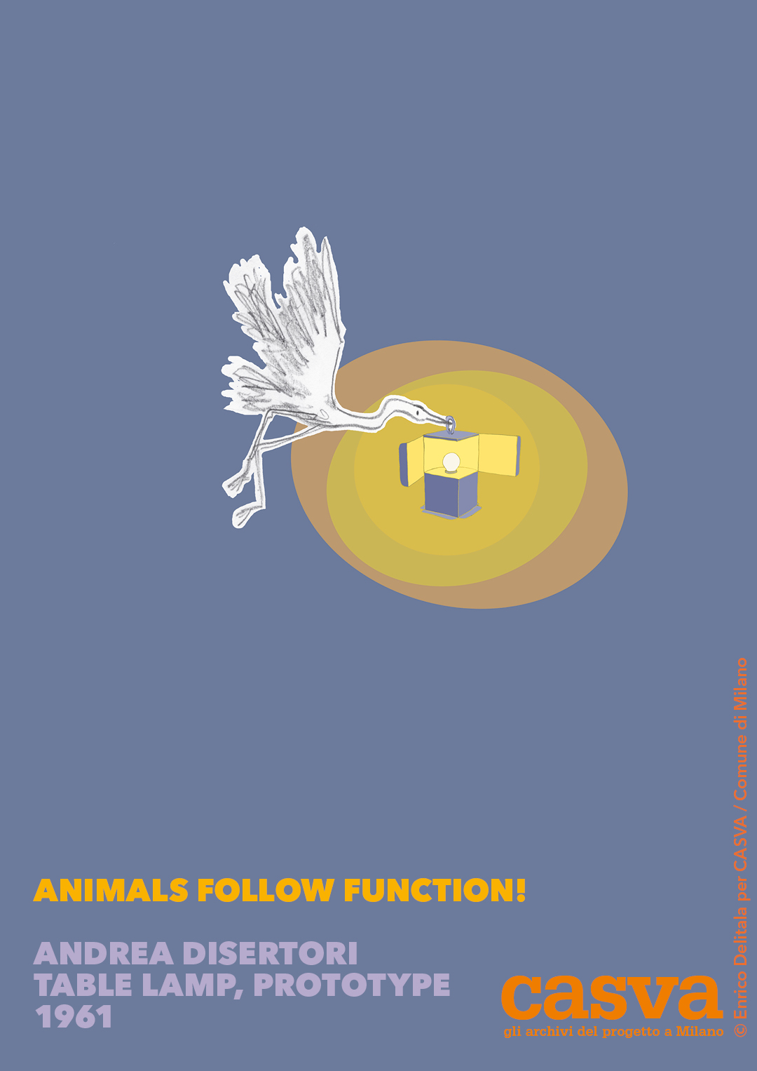Airone: Enrico Delitala illustrator animals follow function form follows function CASVA Andrea Disertori