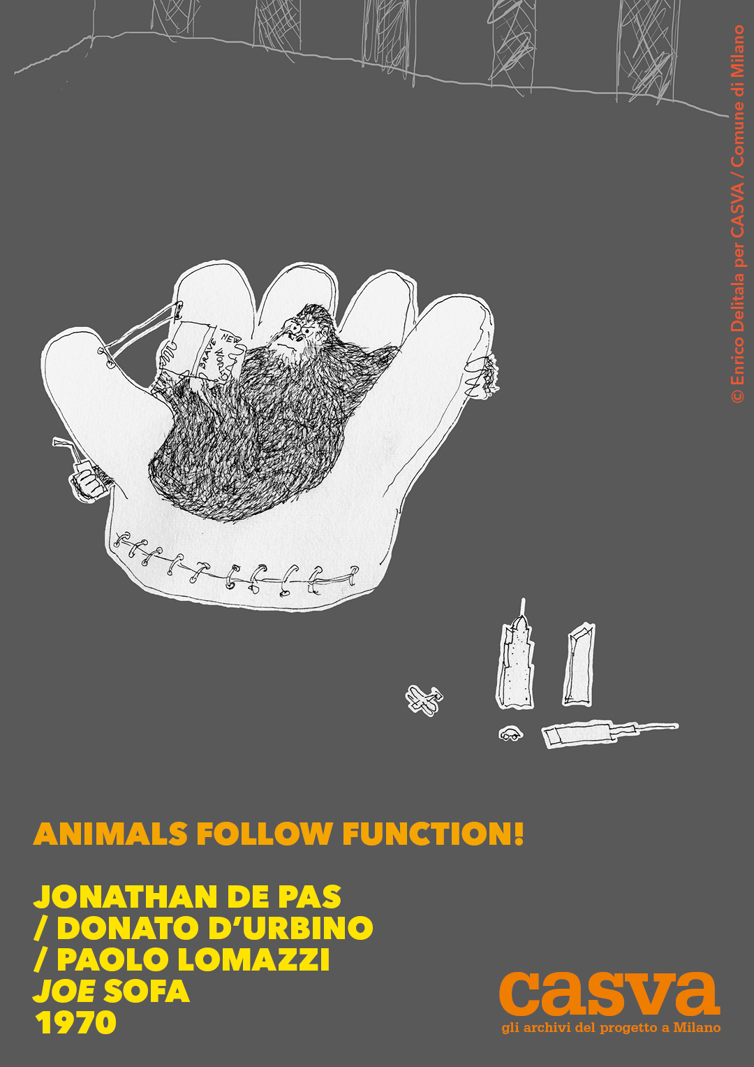 Gorilla: Enrico Delitala illustrator animals follow function form follows function CASVA De Pas D'Urbino Lomazzi Jonathan De Pas Donato D'Urbino Paolo Lomazzi Joe sofa