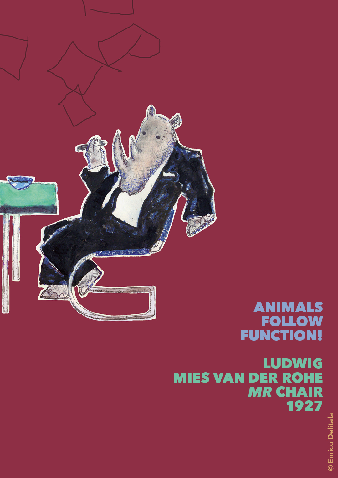 Rinoceronte: Enrico Delitala illustrator animals follow function form follows function Mies van der Rohe Ludvig Mies van der Rohe MR chair
