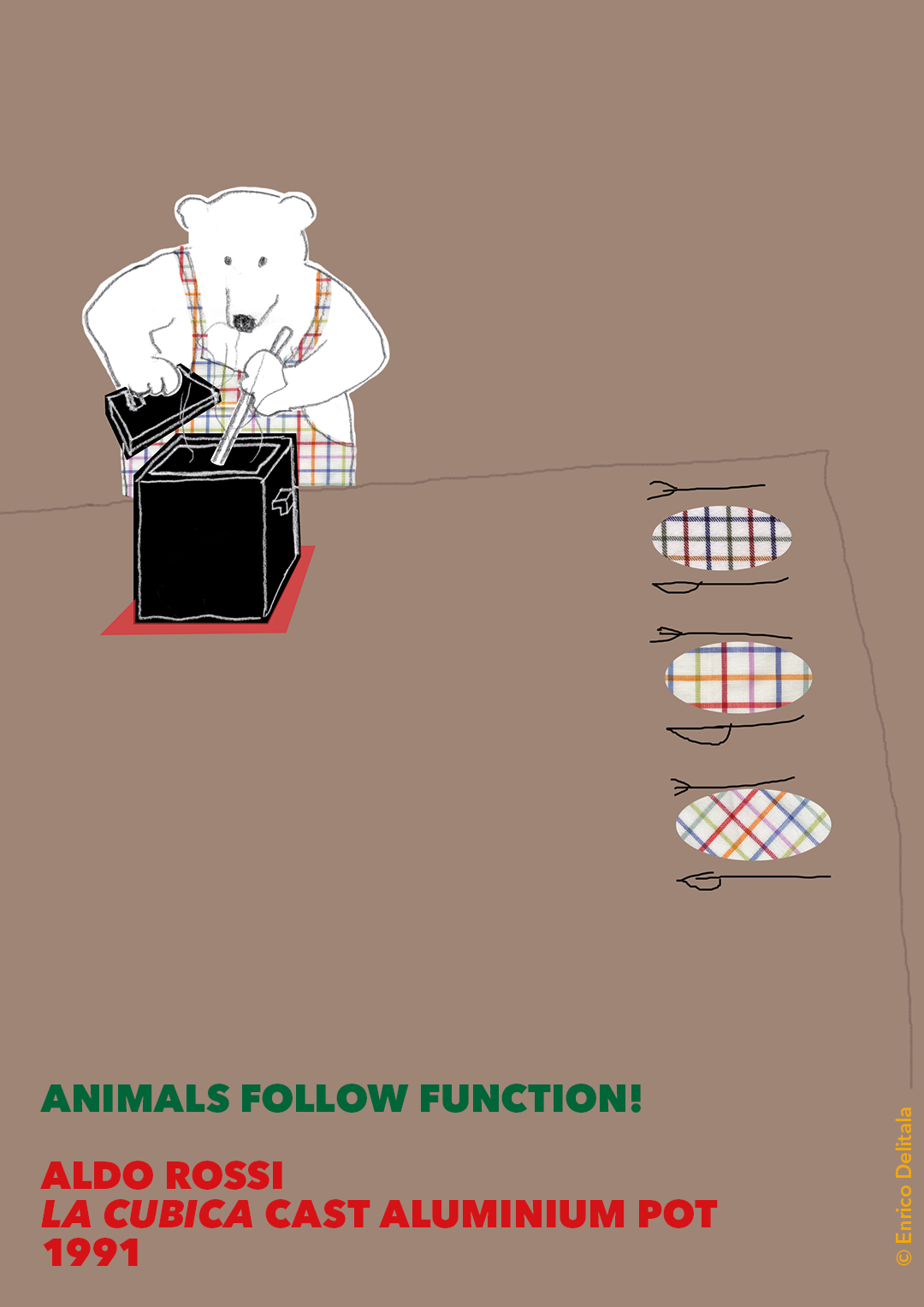 Orso: Enrico Delitala illustrator animals follow function form follows function Aldo Rossi La cubica