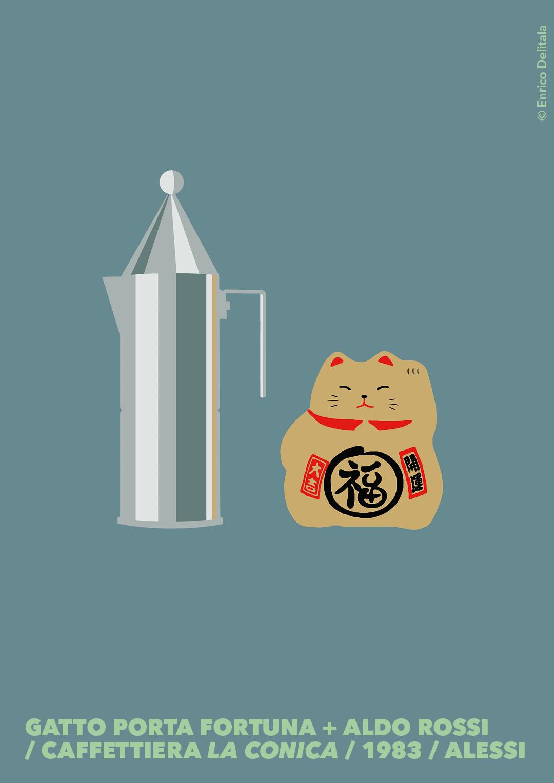 Caffettiera + gatto portafortuna: Enrico Delitala Enrico Delitala illustrator Aldo Rossi