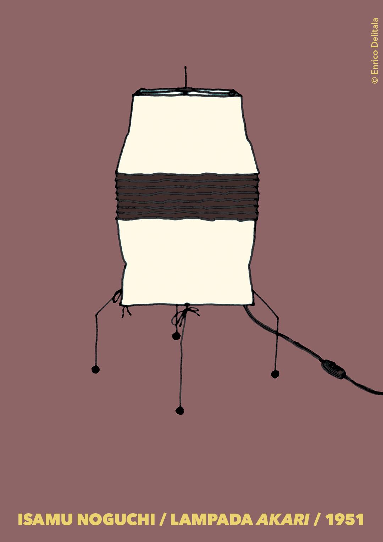 Lampada: Enrico Delitala Enrico Delitala illustrator Isamu Noguchi Akari