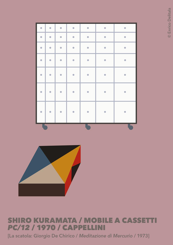 Mobile a cassetti: Enrico Delitala Enrico Delitala illustrator Shiro Kuramata