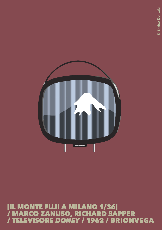 Televisore: Enrico Delitala Enrico Delitala illustrator Marco Zanuso Richard Sapper Doney Brionvega Hokusai